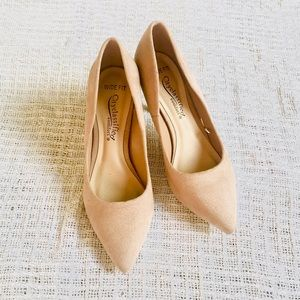 """Nude pointy pointed 3"""" heels faux suede wide fit"""